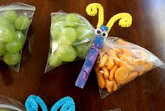 Butterfly Snacks... Charlotte would love these... After all, what is better than grapes and fishies
