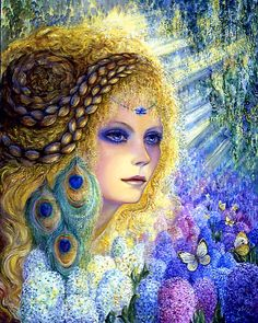 'Hyacinth' by Josephine Wall | After the long cold winter has passed, silken trumpets perfume the air. Sweet Hyacinths welcome the coming of Spring by sharing their beauty and grace everywhere.