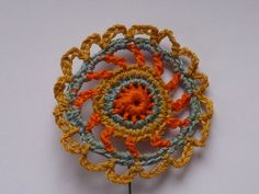 A fun crocheted decorative flower on a wire stick. by crochetclare, £14.50
