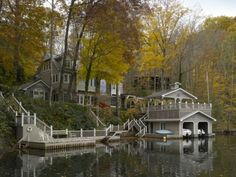 A lake house with it's own dock and boat house is a must for summer living!