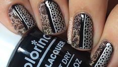 Delicate Black and Silver Mani - Negative Space and Nail Stamping