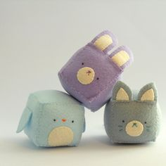 Cube critters are too cute!    Cube Pincushion - Stuffed and soft toys MADE TO ORDER. €8,00, via Etsy.