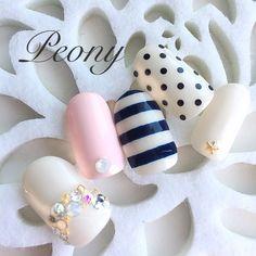 nail design*ボーダー&ドット♡