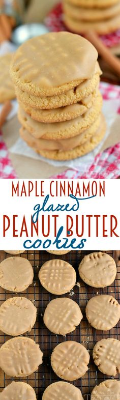 These Maple Cinnamon Glazed Peanut Butter Cookies are going to rock your world with their sweet maple and warm cinnamon flavors! | MomOnTimeout.com | #cookies #peanutbutter
