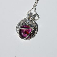 Fine Silver and Dichroic Glass Pendant by MeMeandLuci on Etsy, $139.00