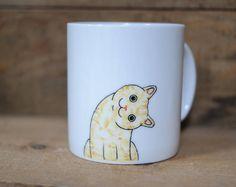 Hand painted animal mug cup - Cute  mug cup - Cat  mug - Cute cat -head slantwise cat