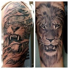 I like the lion tattoo on the right. Artist Freddy Negrete #shamrocksocialclub