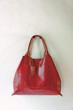 Items similar to Belleville Tote - Available in two sizes - Italian Leather  - Red on Etsy 54890173a7506