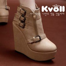 X52192 Kvoll Fashion Cool Metal Buckle Side Zipper Wedge Heel Short Boots Apricot [X52192] - $26.75 : China,Korean,Japan Fashion clothing wholesale and Dropship online-Be the most beautiful Lady