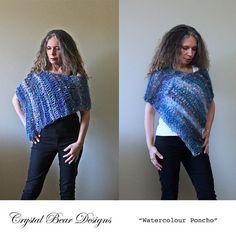 Crochet Poncho PATTERN / Asymmetrical Poncho by CrystalBearDesigns