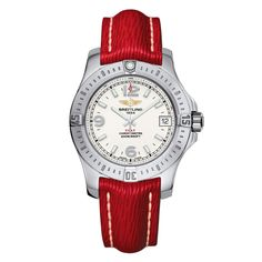 The Pilot... BREITLING GALACTIC 32 Steel & gold case, pearl diamond dial and Sahara red bracelet.