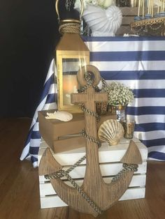 Loving this nautical wedding party! see more party planning ideas at catchmyparty com! garden party ideas for your lovely wedding party Nautical Bridal Showers, Nautical Wedding Theme, Nautical Decor Party, Nautical Wedding Centerpieces, Wedding Themes, Nautical Birthday Girls, Themed Weddings, Anchor Wedding Decorations, Nautical Backdrop