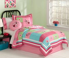Busy Ladybug Bedding for Girls Twin Size 2pc Quilt Set - Pink & Green Ladybug Bedspread