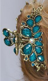 JUST IN!! Ladies Vintage Rhinestone Hair Clip In Turquoise. Styles2you.com