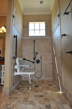 Exquisite Bathroom Tile for Classy Bathroom Interior: Sophisticated Grey Sitting In The Shower Room With Brown Tile Wall, Brown Tile Floor A. Ada Bathroom, Handicap Bathroom, Small Bathroom, Master Bathroom, Washroom, Handicap Accessible Home, Balcony Table And Chairs, Mesh Office Chair, Wet Rooms