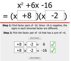 This online game provides some scaffolded practice with factoring quadratic trinomials.
