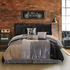 Hudson Street Back to Nature 7 Piece Complete Comforter Set Size: California King, Color: Charcoal