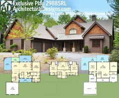 Architectural Designs Exclusive House Plan 29885RL gives you 3 beds and 3.5 baths and over 3,100 square feet of living. PLUS an optional finished lower level. Photos of every room online. Ready when you are. Where do YOU want to build?
