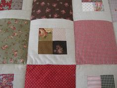 MI RINCON DE COSTURA: COLCHA DE CUADRITOS Colchas Quilting, Scrappy Quilt Patterns, Patches, Quilts, Blanket, Diy, Vintage Bedspread, Scraps Quilt, Ideas