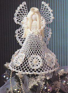 Thread+Crochet+Christmas+Tree+Pattern | Crochet Pattern ~ ANGEL CHRISTMAS TREE TOPPER ~