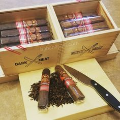 Carving up Viaje Stuffed Turkey ELs. White and Dark Meat available. The cigars are box pressed for 2017. Also pictured is a Xikar steak knife.