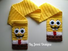 Crochet Beanie Design By Jenni Designs: Free Crochet Pattern: Spongebob Squarepants Inspired Scarf Crochet Kids Scarf, Crochet Beanie, Crochet Scarves, Crochet For Kids, Crochet Shawl, Crochet Yarn, Free Crochet, Ravelry Crochet, Bonnet Crochet