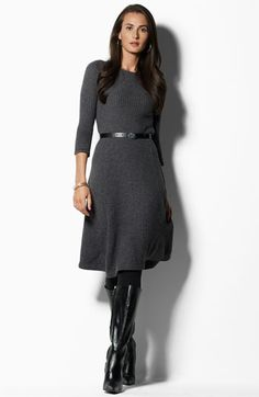 Perfect for the holiday: Lauren by Ralph Lauren Belted Sweater Dress