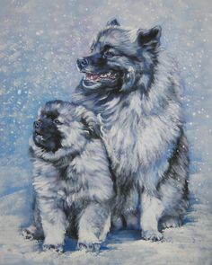 Keeshond art print CANVAS print of LA Shepard by TheDogLover