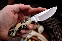 Custom Handmade Stainless WOLF PAW TRACKS Scrimshaw Bone Hunting KnifeOverall Length 6 Inches Blade Length 2 Inches Handle Made Of Bone And Steel GuardComfortable Handle Grip Comes With Belt Loop Leather Sheath Rockwell Hardness is Wolf Paw, Skinning Knife, Folding Pocket Knife, Kitchen Knives, Hunting, Handmade, Store, Hand Made, Larger