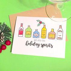 Holiday Spirits Christmas Card Funny Christmas Card Funny