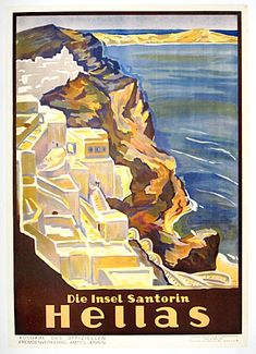 "Rare poster for Greek tourism on the Island of Santorini. Super ""Golden Age"" poster showing seacoast and cliff hanging houses. Excellent color and condition. This is the German language verison."