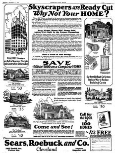"""A 1926 newspaper ad for Sears, Roebuck and Co., published in the Plain Dealer (Cleveland, Ohio), 31 October 1926. Read more on the GenealogyBank blog: """"This Is the House That Sears Built: Historic Sears Kit Homes."""" http://blog.genealogybank.com/this-is-the-house-that-sears-built-historic-sears-kit-homes.html"""