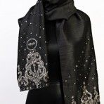 Crowned Shawl: A one of a kind heirloom piece black Dupion silk hand embroidered and beaded with Swarovski crystals. $450.00