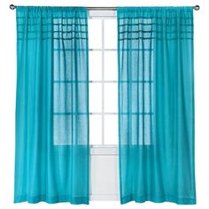 "Xhilaration® Solid with Pom Poms Curtain Panel - Turquoise (50x84"")"