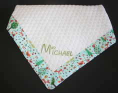 Quilted Baby Blanket with Forest Animals Binding - Personalized Embroidered Name Available by ZamiStudio on Etsy