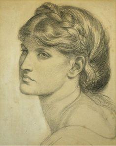 "Dante Gabriel Rossetti (British 1828–1882) [Pre-Raphaelite] Study of a Head for ""The Bower Meadow,"" 1872."