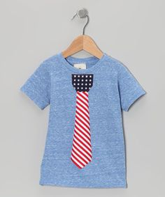 Million Polkadots Blue Patriotic Tie Tee - Toddler & Boys by Million Polkadots #zulily #zulilyfinds