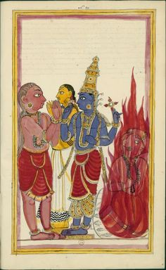 The Bhasmasura giant is punished for his pride by Vishnu. Album 185 illustrations of Shiva History. Karaikal (Tanjore), between 1727 and 1758