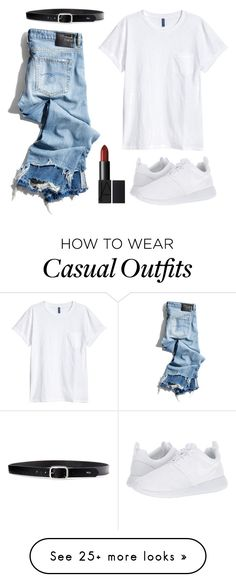 """☁️White casual☁️"" by annie-anna-annie on Polyvore featuring R13, H&M, NIKE and Lauren Ralph Lauren"