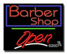 "Barber Shop, Logo Open Neon Sign - Script Text - 24""x31""-ANS1500-3838-3g  31"" Wide x 24"" Tall x 3"" Deep  Sign is mounted on an unbreakable black or clear Lexan backing  Top and bottom protective sides  110 volt U.L. listed transformer fits into a standard outlet  Hanging hardware & chain included  6' Power cord with standard transformer  Includes 2nd transformer for independent OPEN section control  For indoor use only  1 Year Warranty on electrical components."