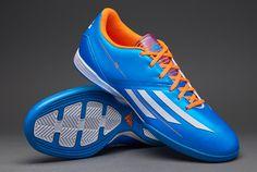 adidas Football Boots - adidas F10 Indoor - Soccer Cleats - Solar Blue-Running White-Solar Zest