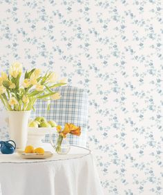 PP35506-roomset Watercolor Floral Wallpaper, Toile Wallpaper, Wallpaper Samples, Pattern Wallpaper, Rose Bedroom, Visual Texture, Pastel Flowers, Flowering Vines, Traditional Wallpaper
