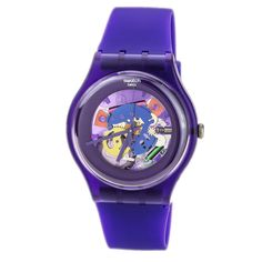 Swatch SUOV100 Unisex Purple Lacquered Skeleton Dial Purple Rubber Strap Watch