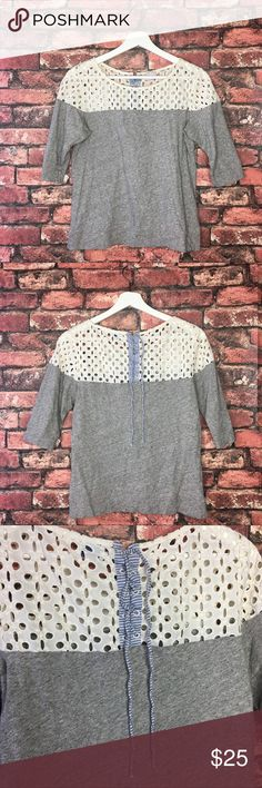 Anthropologie Postmark Eyelet Lace Up Top The perfect stylish off white/ grey causal top with a striped blue lace up detail in the back. In great condition.  Bust 18in Sleeves 14in Length 22in Anthropologie Tops