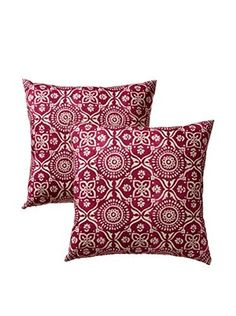 Colorfly by Belle Masion Set of 2 Adara Pillows, Fuchsia