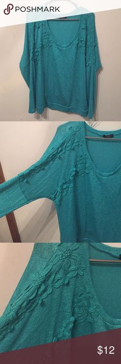 PLUS SIZE CROCHET DETAIL SWEATER Juniors Plus size teal sweater with flower crochet detail on sleeves. New without tags! Tops