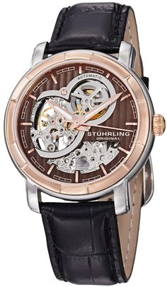 59859243204 Stuhrling Original Men s 169.33R569 Classic Delphi Dauphin Automatic  Skeleton Brown Dial Watch Skeleton Watches
