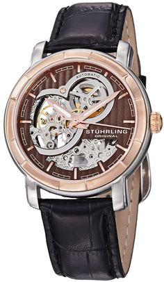 Stuhrling Original Men's 169.33R569 Classic Delphi Dauphin Automatic Skeleton Brown Dial Watch