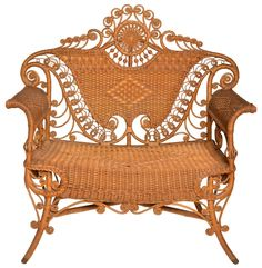 Heywood Wakefield Natural Wicker Victorian Settee