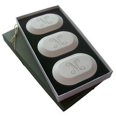 Eco-Luxury Initial Soaps: Three custom bars carved in the initial of your desire presented in a timelessly elegant keepsake box.  Soaps are Made in Vermont, 100% Vegetable Based, Triple-Milled & Aqua Mineral Fragrance.  ONLY safe for sensitive skin and noses in the industry!
